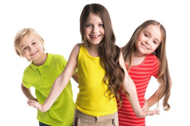 Happy children isolated on white stok fotoğrafı