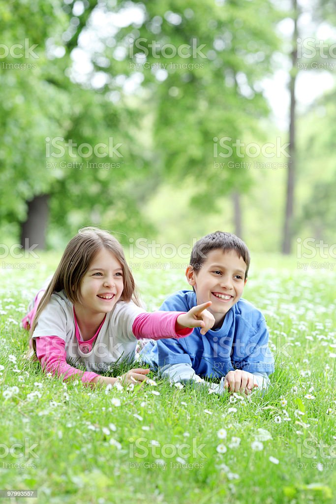 Happy children lying down on the grass, showing with finger. royalty free stockfoto