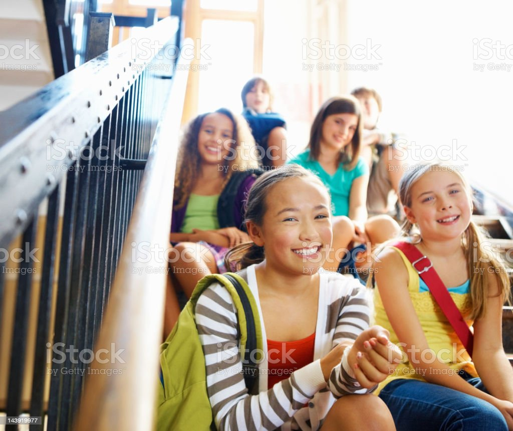 Happy children on stairs royalty-free stock photo