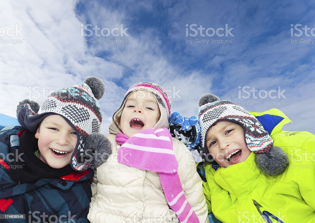 Happy children outdoors royalty-free stock photo