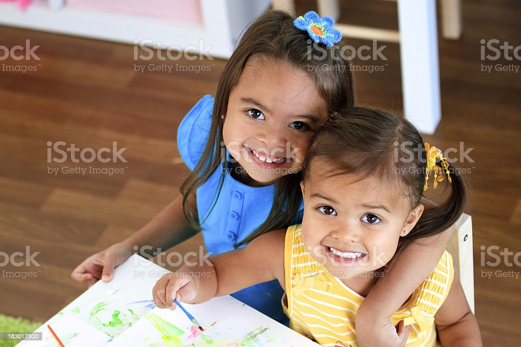Happy Children Painting royalty-free stock photo