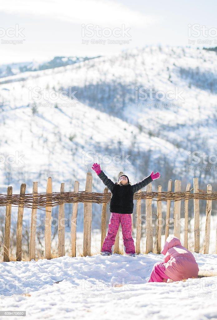 Happy Children Playing On Snow. stock photo