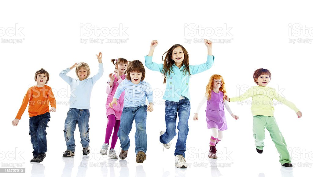 Happy children running towards camera. royalty-free stock photo