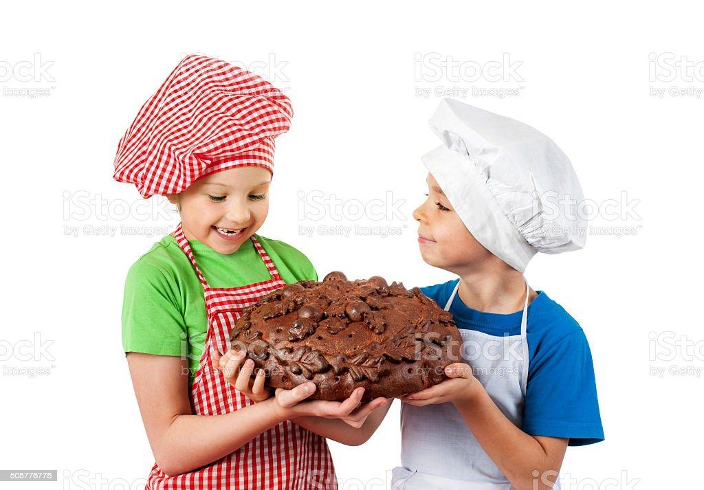 Happy children with bread stock photo
