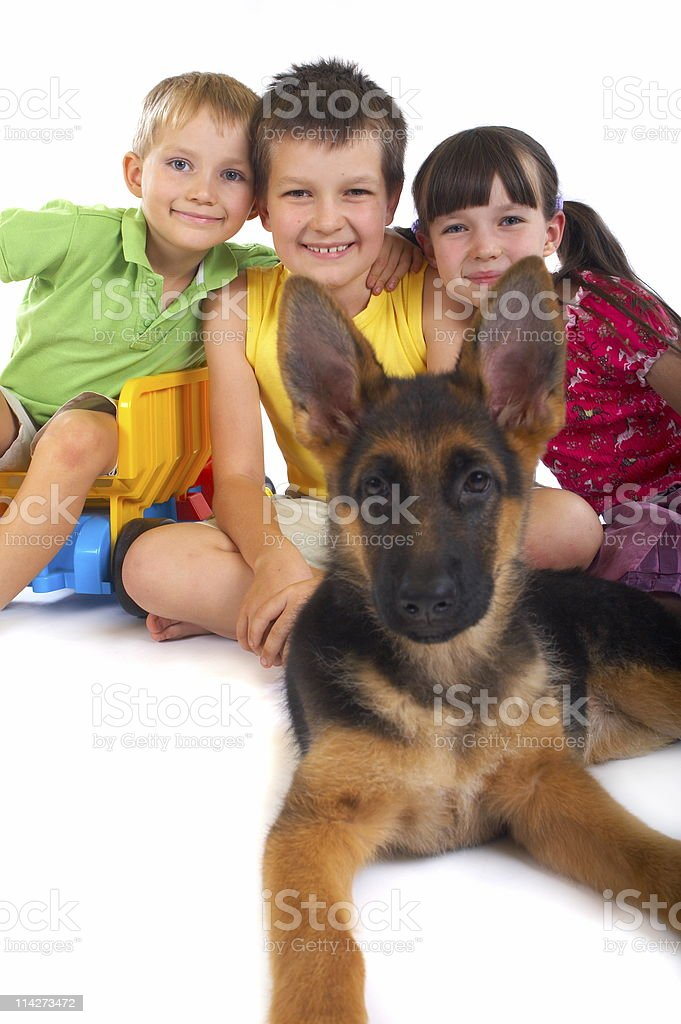 Happy children with dog royalty-free stock photo