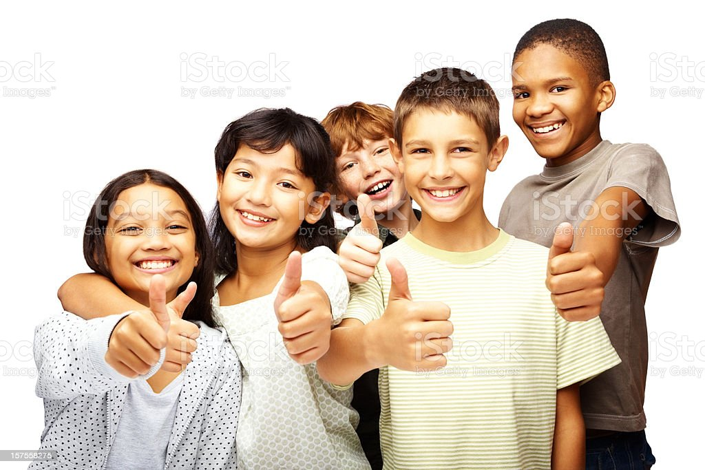 Happy children with thumbs up over white royalty-free stock photo