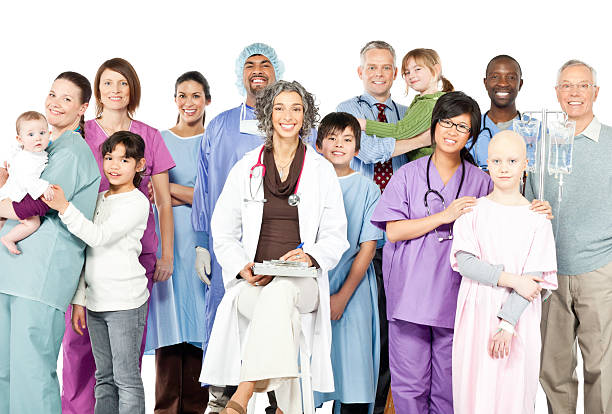 Happy Children's Hospital with Diversity (Isolated) stock photo