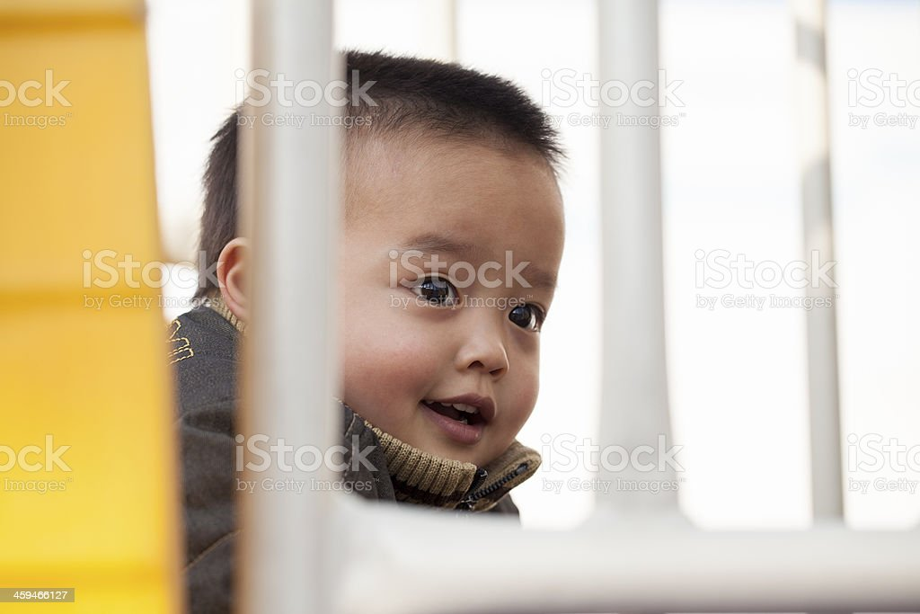 Happy Chinese children in playground stock photo