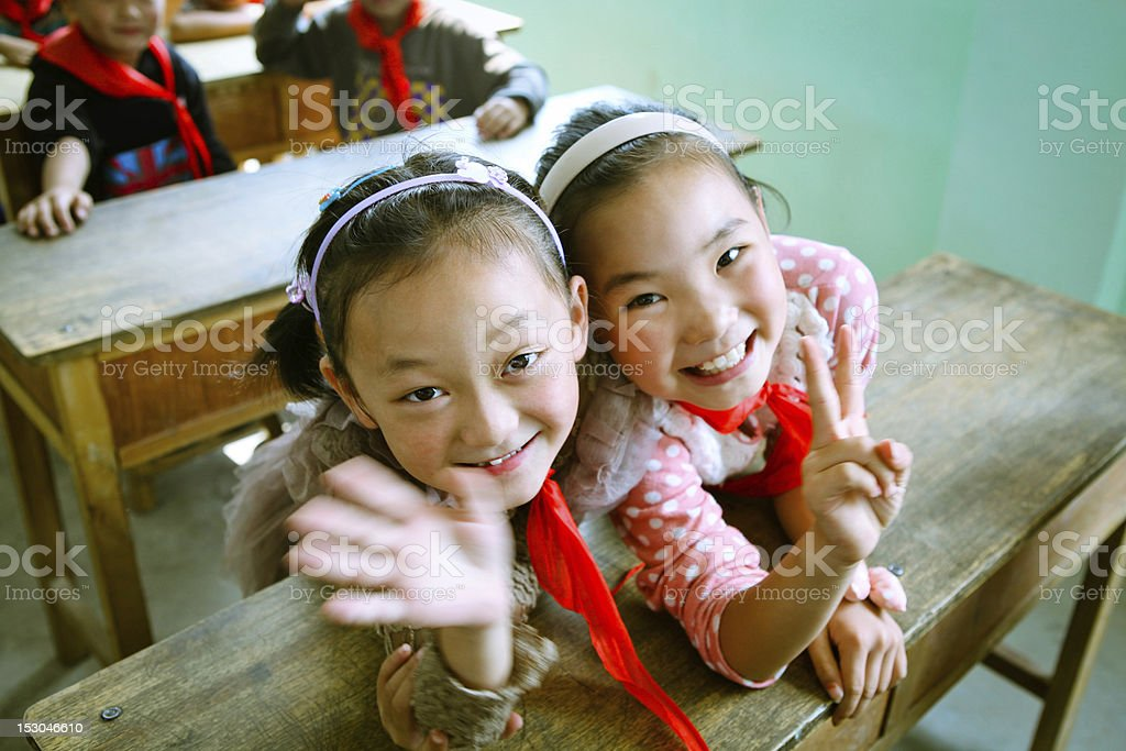 Happy Chinese Elementary School Students stock photo