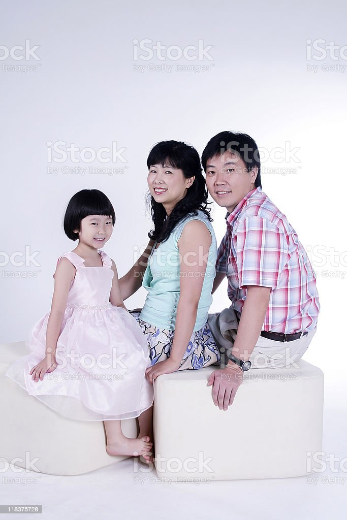 Happy Chinese Family in White Background royalty-free stock photo