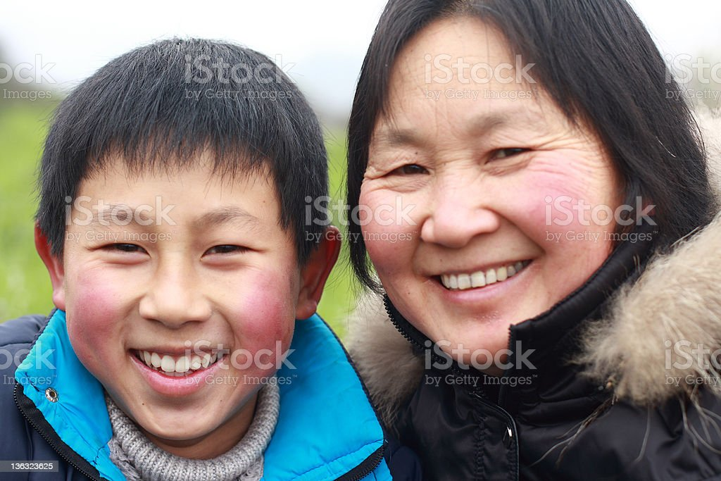 happy chinese mom and son royalty-free stock photo