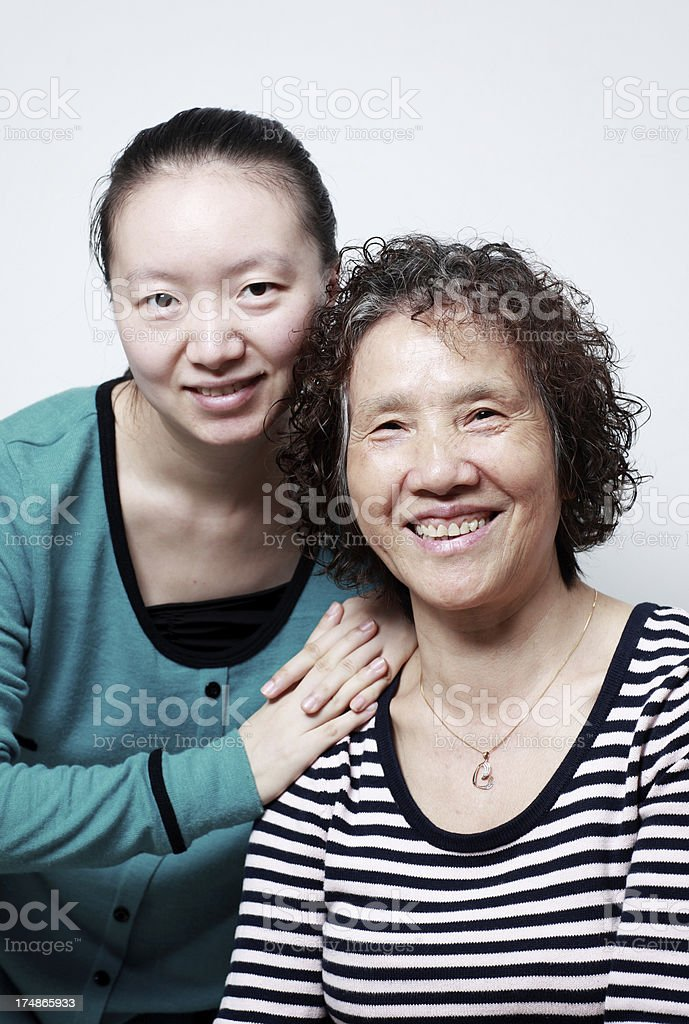 Happy Chinese mother and daughter royalty-free stock photo