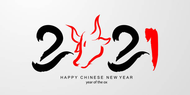 happy chinese new year banner card year of ox. red polygon graphic and background calligraphy translation year of the brings prosperity :chinese calendar for the year of ox 2021, - chinese new year stock pictures, royalty-free photos & images