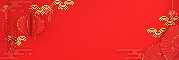istock Happy Chinese new year banner, red and gold lantern and knot firecracker hand fan paper cut on background. Design creative concept of china festival celebration gong xi fa cai. 3D illustration. 1194695338