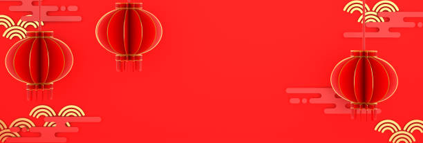 happy chinese new year banner, red and gold lantern lampion paper cut. design creative concept of china festival celebration gong xi fa cai. copy space text wide area. 3d rendering illustration. - chinese new year stock pictures, royalty-free photos & images