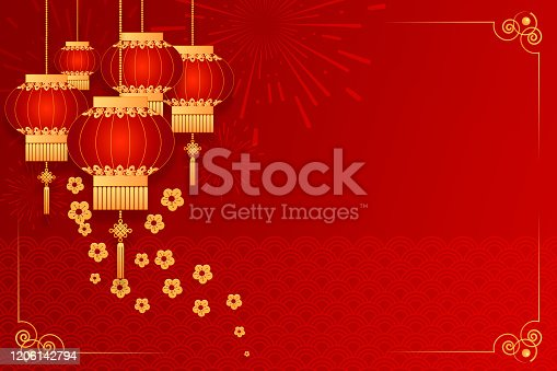 1176499937 istock photo Happy Chinese new year card. Red background with traditional Asian lanterns . For greetings card, flyers, invitation, posters, brochure, banners, calendar 1206142794