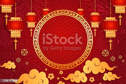 1176499937 istock photo Happy Chinese new year card. Red background with traditional Asian lanterns . For greetings card, flyers, invitation, posters, brochure, banners, calendar 1206142838