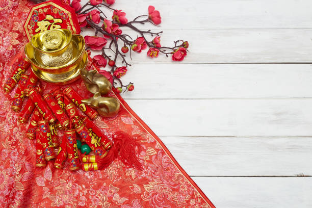 """happy chinese new year or lunar new year on white wooden background. text space images. (with the character """"fu"""" meaning fortune) - chinese new year stock pictures, royalty-free photos & images"""
