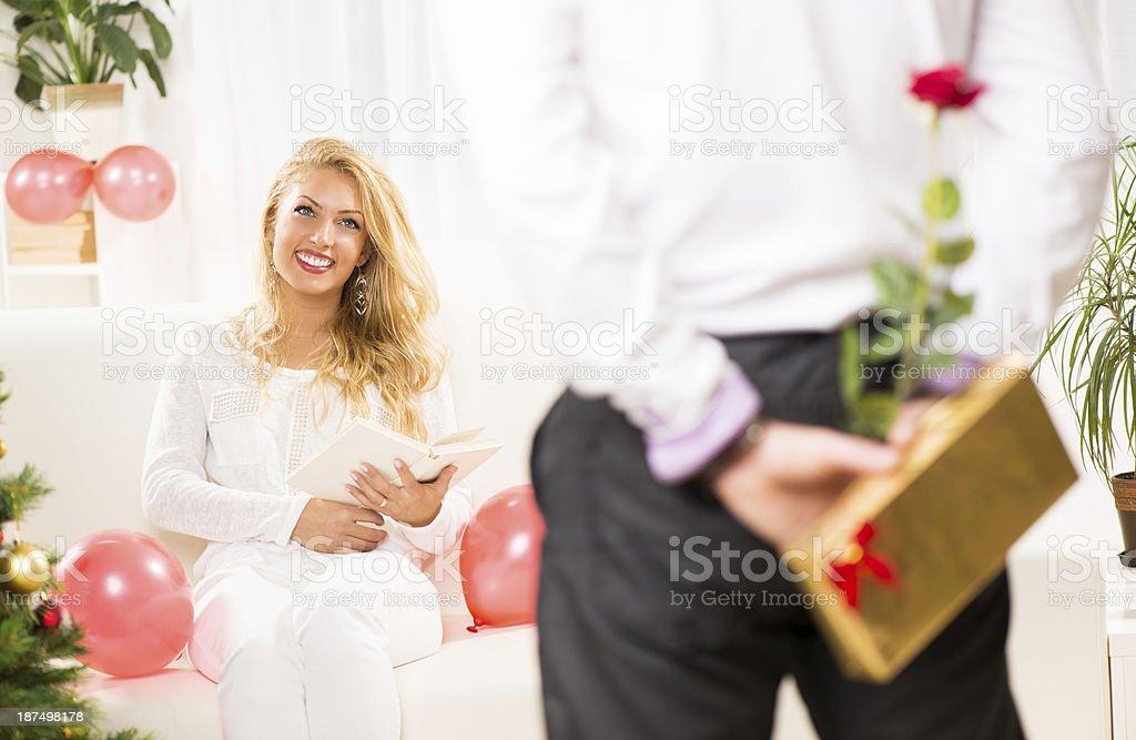 Happy Christmas couple royalty-free stock photo