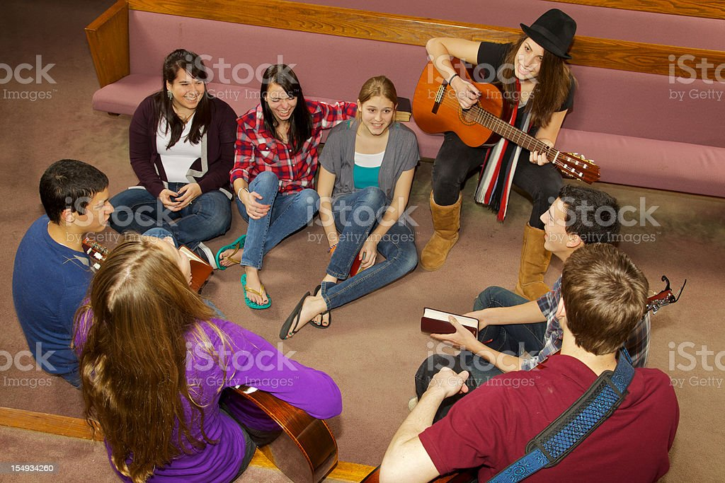 Happy Church Youth Group stock photo