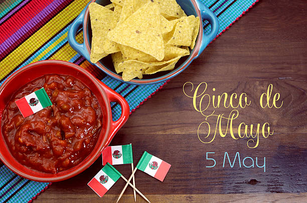 happy cinco de mayo, 5th may, party table celebration - cinco de mayo stock photos and pictures