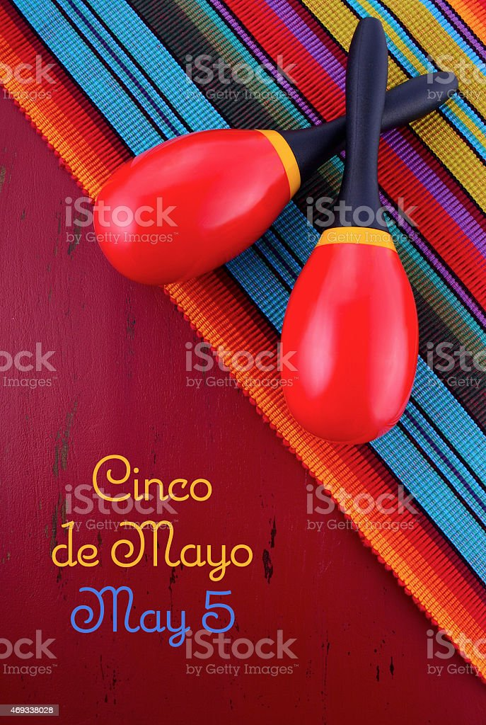 Happy Cinco de Mayo background with maracas stock photo