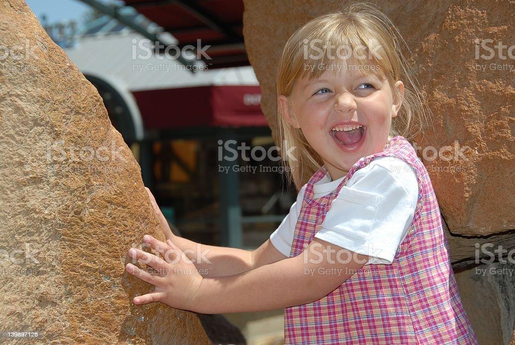 Happy City Rock Climber royalty-free stock photo