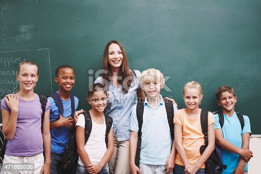 istock Happy classroom full of eager minds 471869705