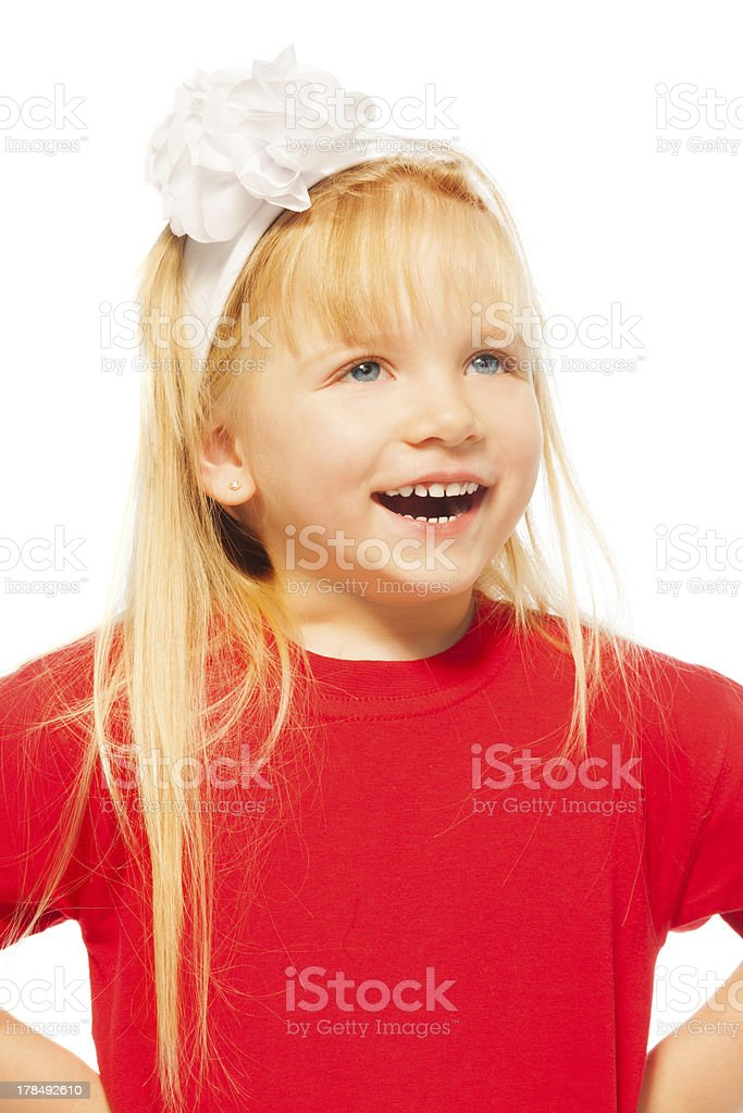 happy close-up portrait of little blond girl stock photo