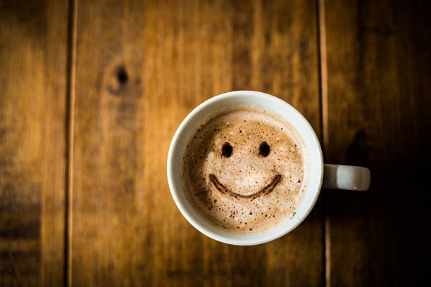 happy coffee cup - coffee stock pictures, royalty-free photos & images
