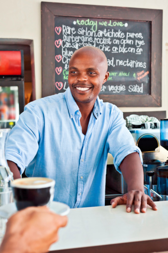 Happy Coffee Shop Owner Stock Photo - Download Image Now