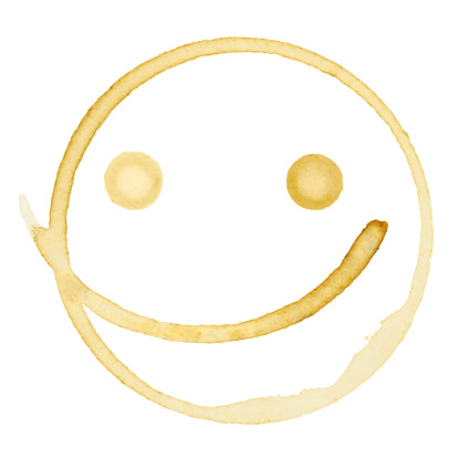 Happy Coffee Stain Isolated on a Pure White Background