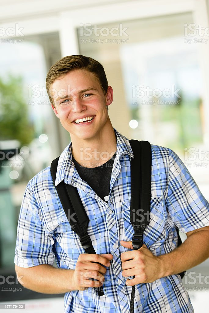Happy College Student - Wearing Shoulder Bag royalty-free stock photo