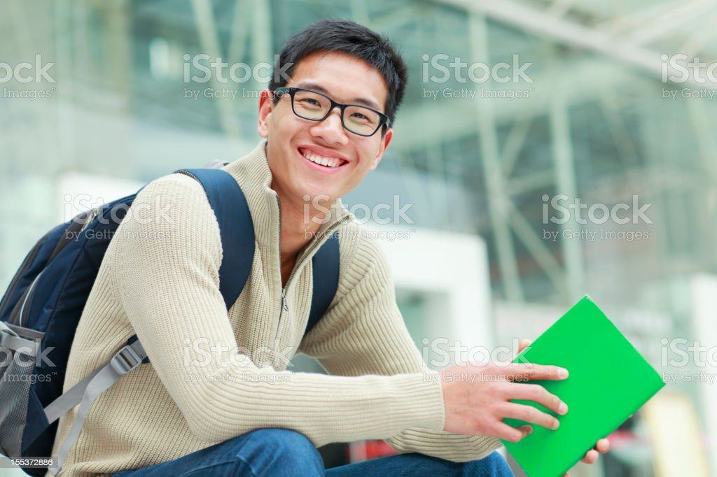 happy college students in campus stock photo