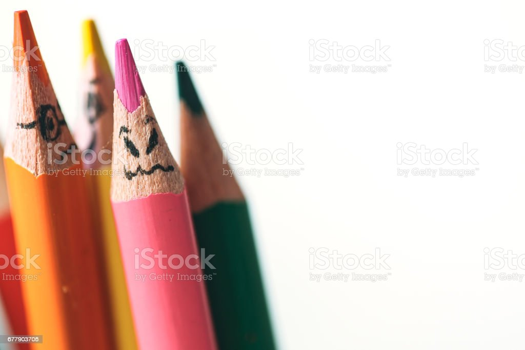 Happy colourful pencils royalty-free stock photo