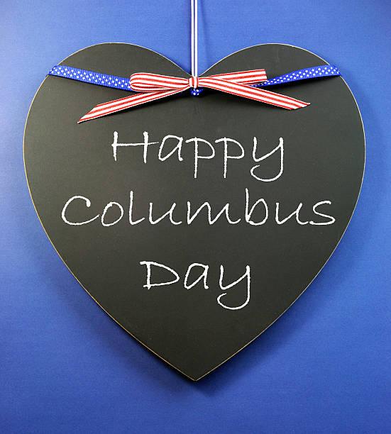 행복함 콜럼버스 일-연도 에 메시지를 하트 모양 blackboard - columbus day 뉴스 사진 이미지