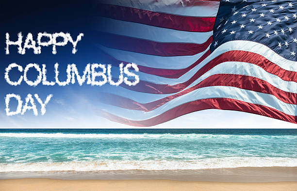 행복함 콜럼버스 일 미국 플래깅 - columbus day 뉴스 사진 이미지