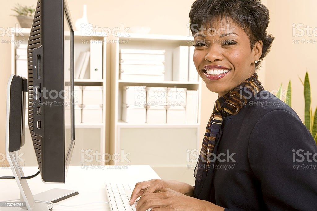 Happy Computer Worker royalty-free stock photo