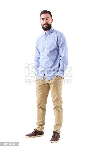 931173966istockphoto Happy confident bearded business man in formal wear with hands in pockets looking at camera 908611616
