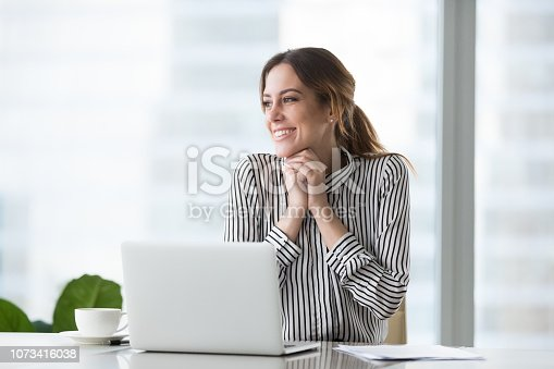 509032417 istock photo Happy confident businesswoman received good, successful, joyful news 1073416038