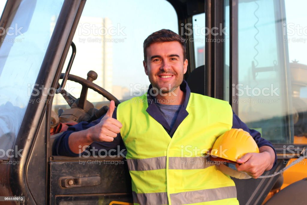 Happy construction worker close up stock photo