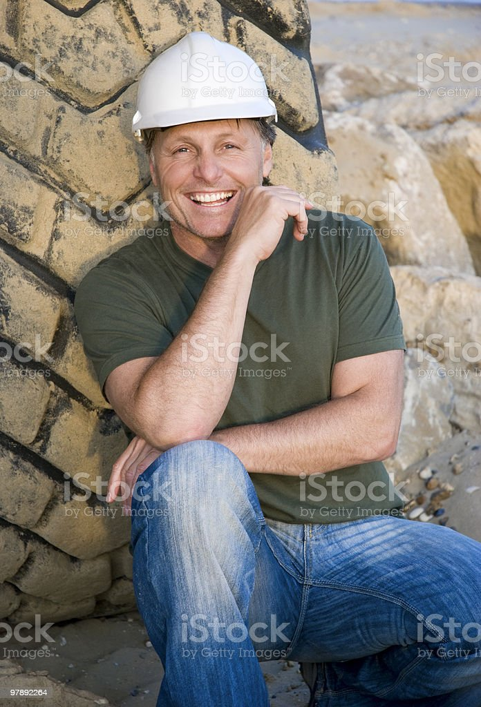 Happy construction worker. royalty-free stock photo
