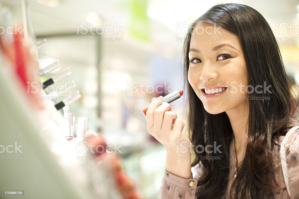happy cosmetics shopper stock photo