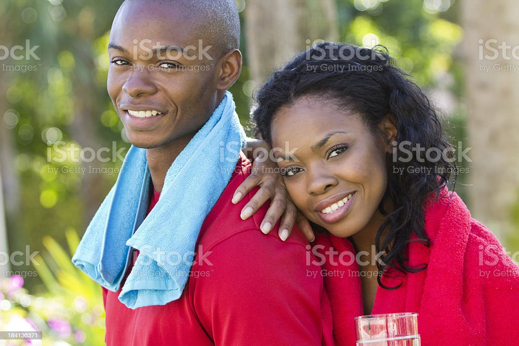 Happy couple after workout stock photo
