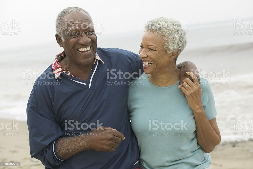 Happy Couple at Beach stock photo