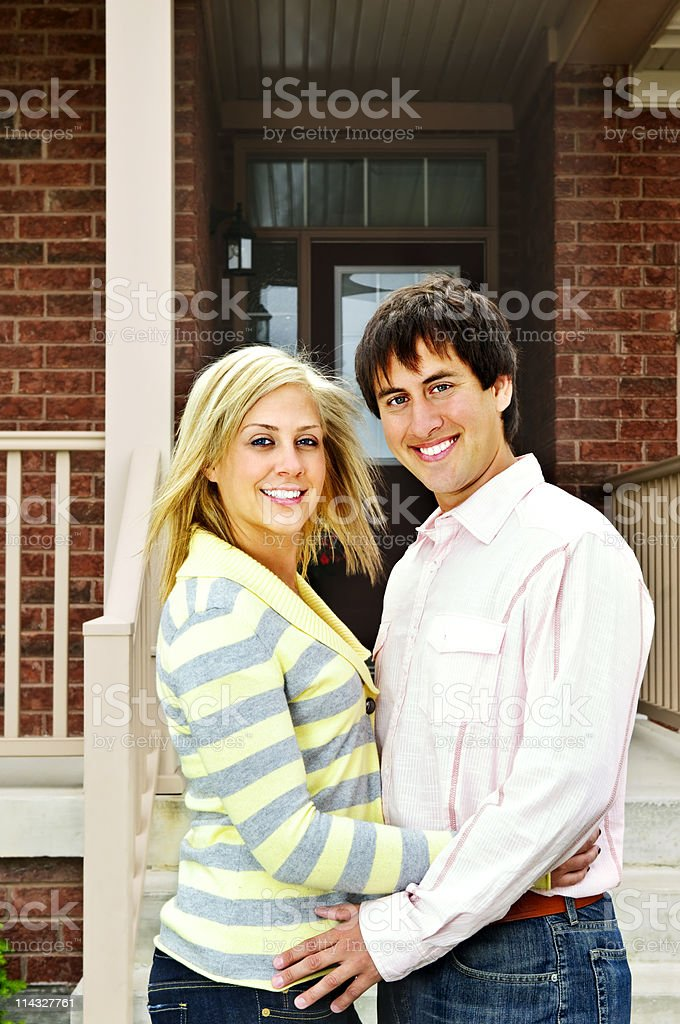 Happy couple at home royalty-free stock photo