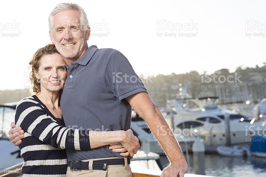 Happy couple at Marina royalty-free stock photo