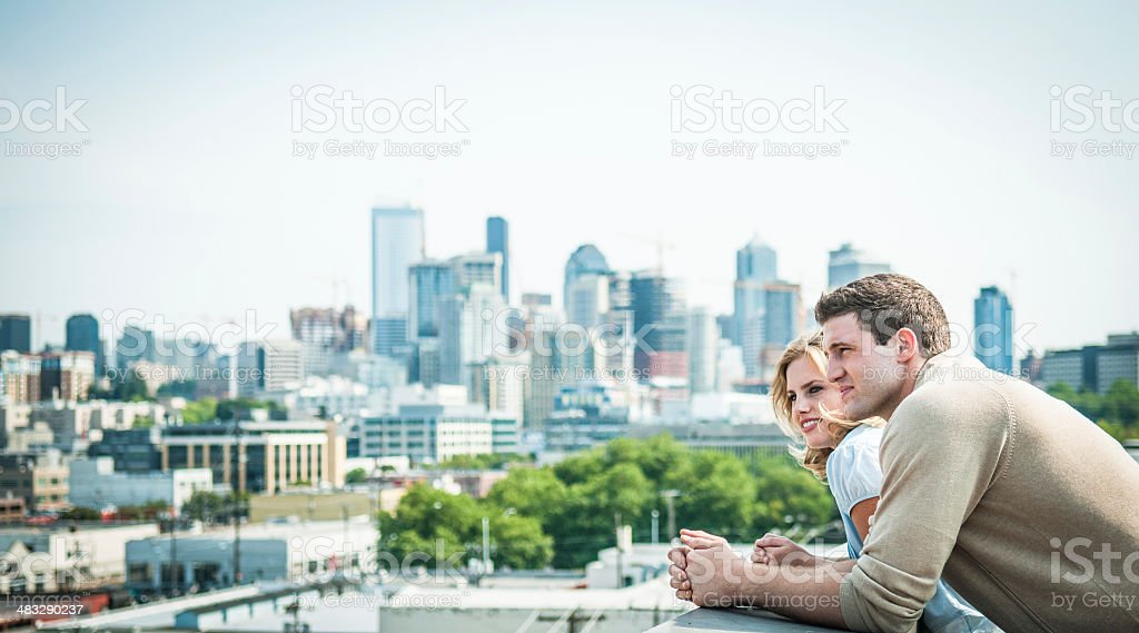 Happy  Couple at New Home stock photo