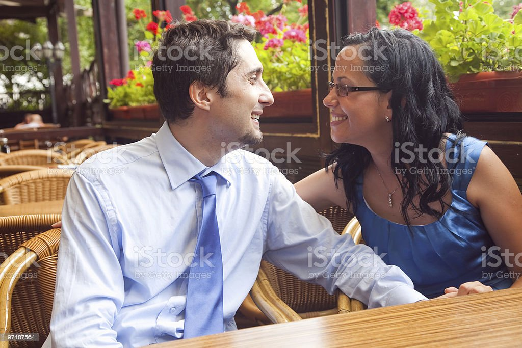 Happy couple at restaurant on honeymoon royalty-free stock photo