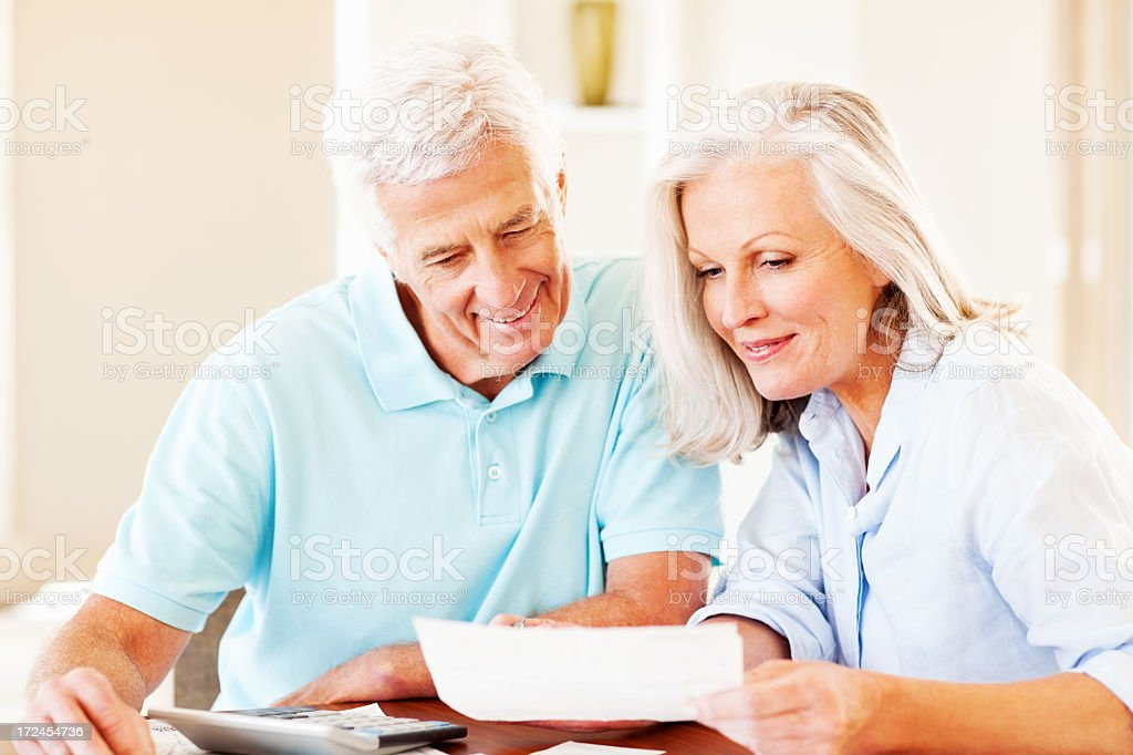 Happy Couple Calculating Monthly Expenses royalty-free stock photo